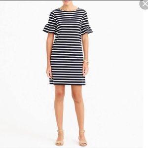 J.crew Ruffled bell-sleeve shift dress stripe  XL